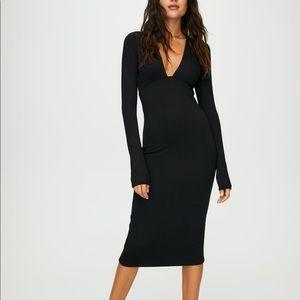 Wilfred Free Knit Long Sleeve Abby Grey Midi Dress